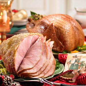 Turkey and ham holiday dinner