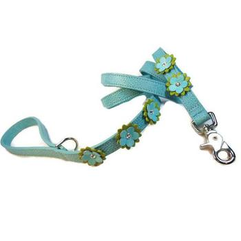 Crystals on leather Flowered Dog Lead