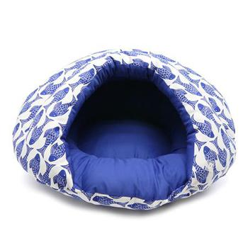 Dogo Burger blue striped cave like dog bed