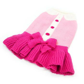 pink dog dress has dainty bow and ruffled miniskirt
