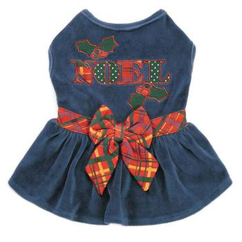 blue velvet Noel holiday dog dress