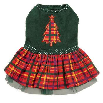 plaid with tree holiday dog dress