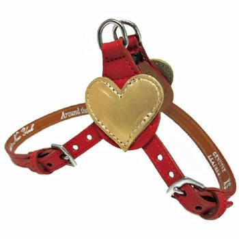 leather step in dog harness with heart accent