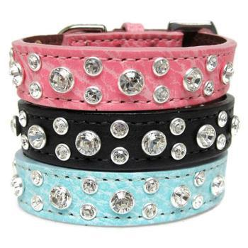 Clear Swarovski Crystals on Blue Leather Cluster Collar