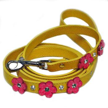 Leather Lead with Leather Flowers and Swarovski Stones