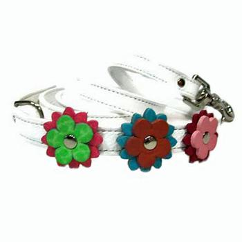 Random colored Flowers on leather Dog Leash