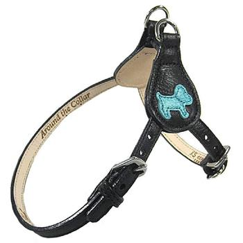 leather dog step in harness with dog accent