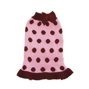 red with white polka dot dogo sweater dress