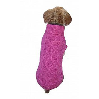 pink dog sweater with american flag across back