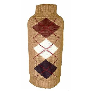 Brown Argyle Dog Sweater