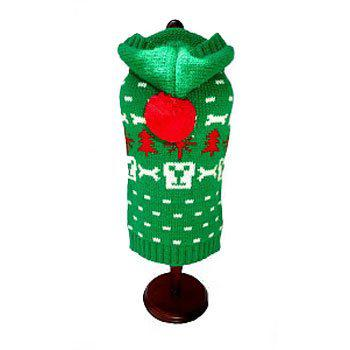 green dog face and bones holiday dog sweater