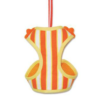 dogo easygo orange and white striped step in dog harness with a flower accent