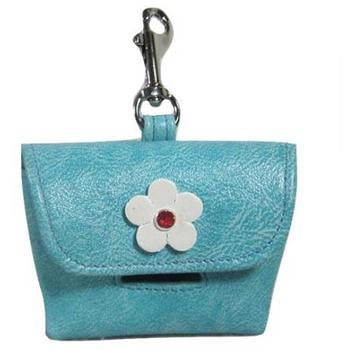 leather dog Flowered Poop Bag Holder