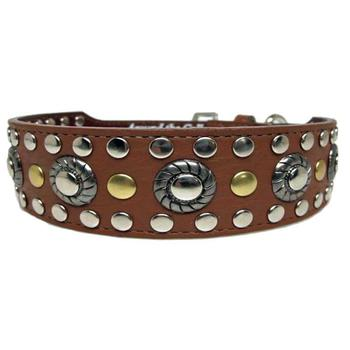 ATC leather and studs grommet dog collar
