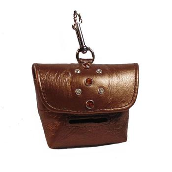leather dog Poop Bag Holder-Cluster Swarovski crystals