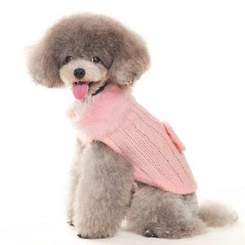 cashmere mix with faux fur collar dog sweater