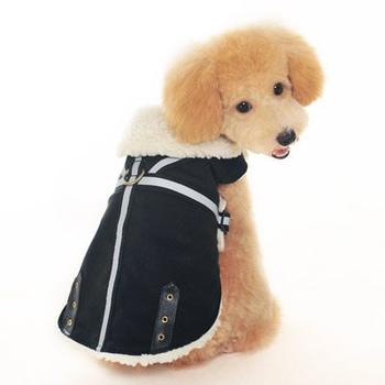 brown military  shearling dog coat