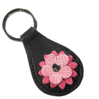 Ellie leather Flower Bling keychain