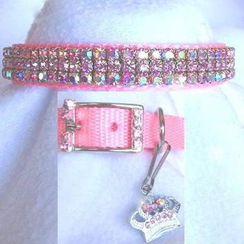 Pink Aurora  with Pink Rhinestones Dog Collar