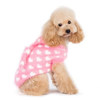 Pink fluffy Dog Hoodie with white hearts
