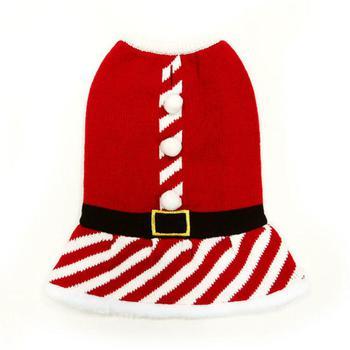 white pompom buttons, black belt on a red Santa dog dress
