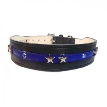thin blue line dog collar with blue stones and silver stars