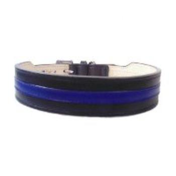 thin blue line leather dog collar