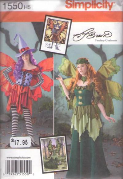 Simplicity 1550 Retro 2014 Sewing Pattern WICKED SPRITE Dark Fairie Woodland Fairy Goth Lolita Steam Punk Costumes, Hat, Waist Cincher Bustier, ...