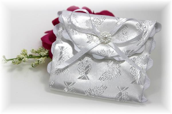 white satin rosary case pouch