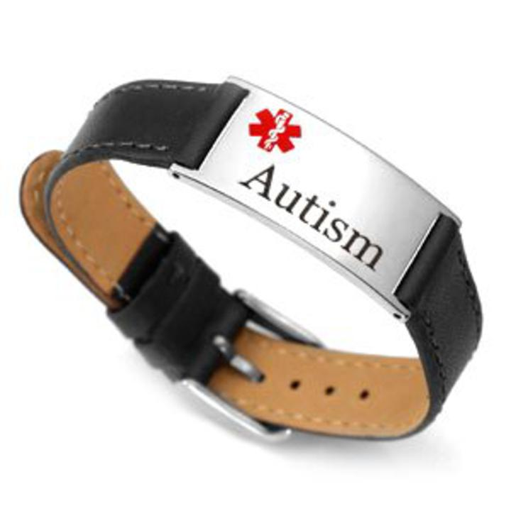 1780 Autism Black Leather Medical Id Bracelet