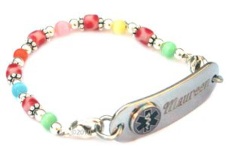 S Fun Candy Dots Beaded Medical Id Alert Bracelet