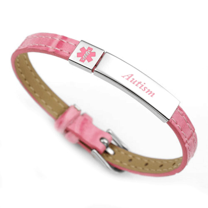 18361 Autism Pink Faux Leather Medical Bracelet Id