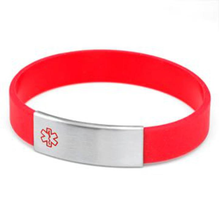 #2253 Silicone and Stainless Medical ID Bracelet Choose Color