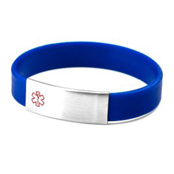 1849 Blue Silicone And Stainless Medical Id Bracelet