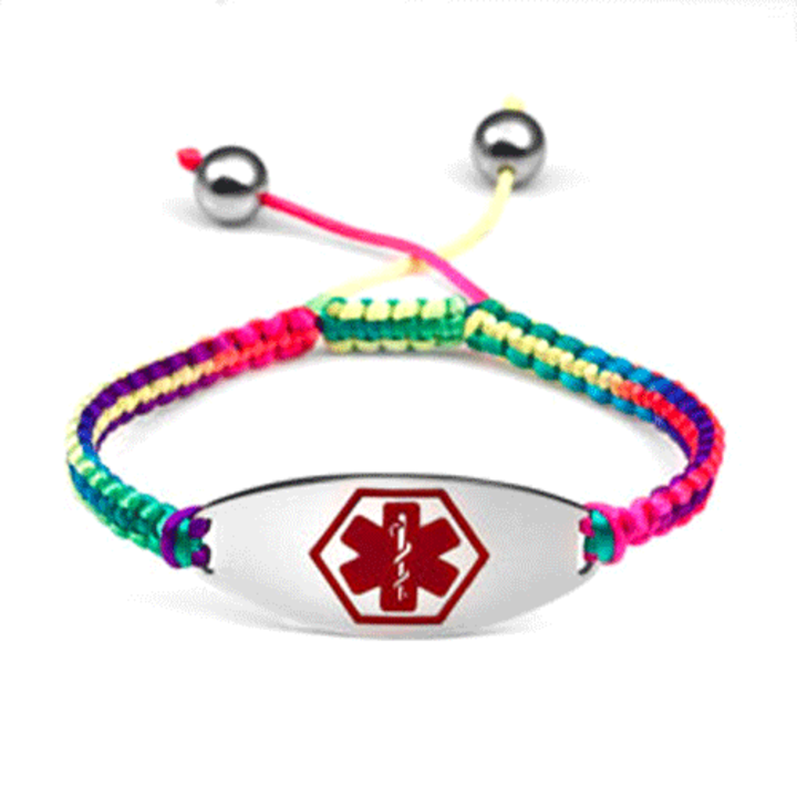 Item 2094a Rainbow Tropic Red Macrame Adjule Medical Alert Bracelet