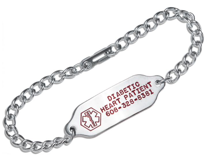 517f328a23d22 #OE1 Stainless Steel Medical Alert Bracelet Red Fill Engraving