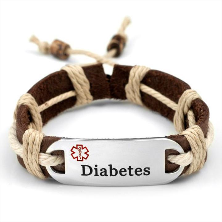 1762 Diabetes Natural Leather Medical Id Bracelet