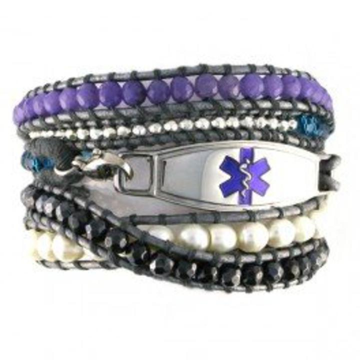 2524 Dream Glam Beaded Wrap Medical Bracelet Puple Tag Id