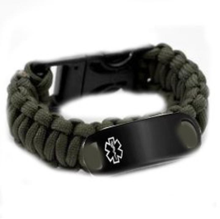 #KPI13SB Paracord Medical ID Bracelet Black Stainless Tag