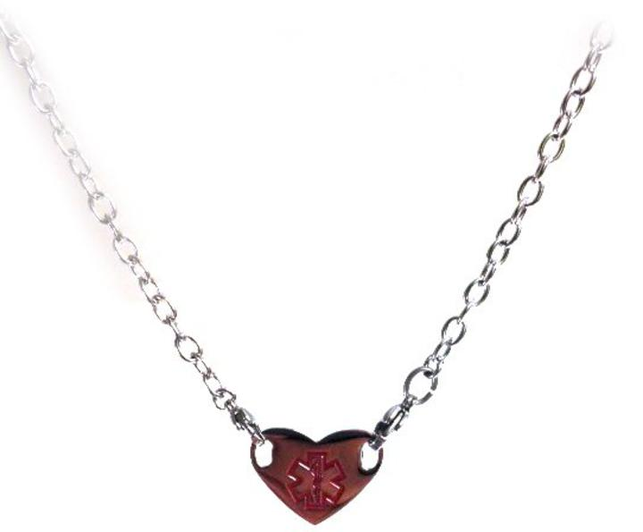 612n Heart Stainless Steel Medical Id Necklace Large Symbol