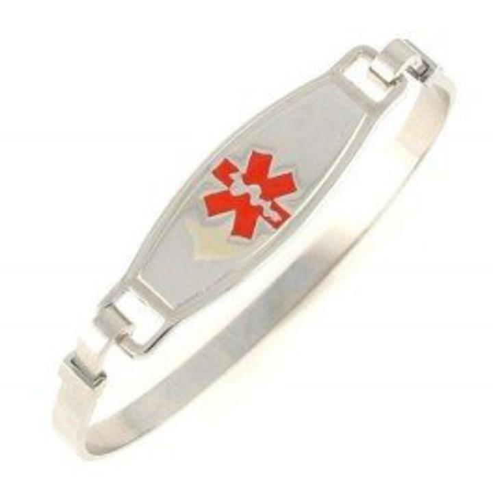 1615 Red Titanium Medical Id Alert Bangle Bracelet